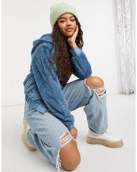 Threadbare – mantel aus kunstpelz mit kapuze - Blau