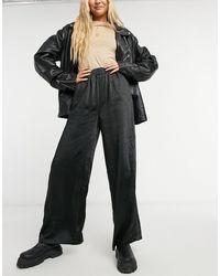 Dr. Denim Bell wide-legged Satin Pants-black