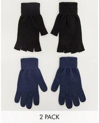 ASOS Confezione da 2 guanti touchscreen blu navy e senza dita neri - Multicolore