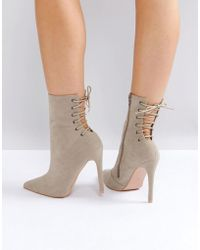 Public Desire - Kilburn Grey Lace Up Heeled Ankle Boots - Lyst