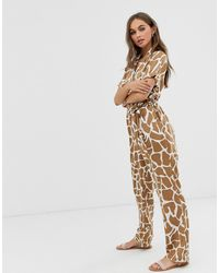 Pieces - Abstract Animal Print Jumpsuit - Lyst