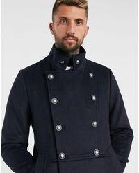 ASOS – Zweireihiger Mantel aus Wollmischung mit Military-Details - Blau