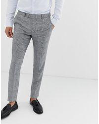 Moss Bros Pantalon de costume ajusté à carreaux - Gris