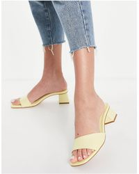 Pull&Bear Mid Heel Sandals - Yellow