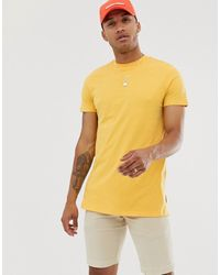 ASOS - Longline T-shirt With Crew Neck And Side Splits In Yellow - Lyst