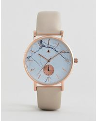 ASOS - Asos Design Curve Watch With Leather Strap And Marble Print Face - Lyst