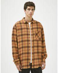Pull&Bear Бежевая Клетчатая Рубашка -бежевый - Естественный