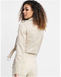Pull&Bear Бежевая Байкерская Куртка Из Искусственной Замши -бежевый - Естественный
