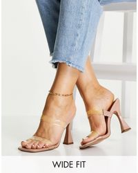 ASOS Wide Fit Nasia Heeled Mules - Blue