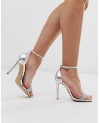 Lipsy Diamante Barely There Heeled Sandal In Silver - Metallic