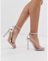 Lipsy - Sandales minimalistes à talons avec strass - Argenté - Lyst