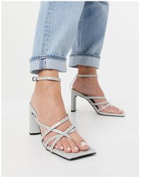 Public Desire Charms Block Heeled Sandals - Grey