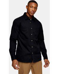 TOPMAN Washed Twill Slim Shirt - Black