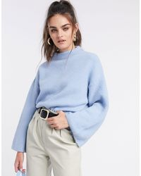 ASOS Oversize Sweater With Funnel Neck - Blue