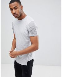 Jack & Jones - Core Longline T-shirt Panel Sleeve Detail - Lyst