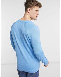Hollister Синий Вязаный Джемпер С Круглым Вырезом И Логотипом -голубой