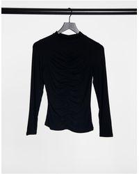 New Look Ruched Front Turtleneck - Black