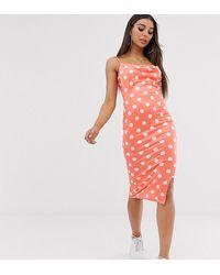 Missguided Exclusieve Midi-jurk Met Split En Roze Stippen