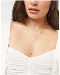 Warehouse Bead & Coin Multirow Necklace-orange
