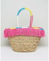 South Beach Fringe Straw Bag With Wrapped Handles - Pink