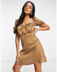 Naanaa Polka Dot Puff Sleeve Satin Dress - Brown