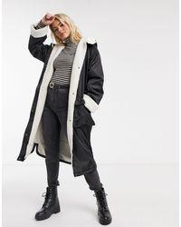 ASOS Borg Lined Maxi Raincoat - Black