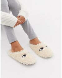 Monki - Fluffy Slippers In Beige - Lyst