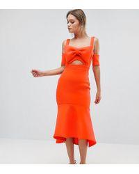 True Violet - Bow Detail Midi Dress With Pep Hem - Lyst