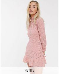 River Island Розовое Кружевное Платье С Высоким Воротом -розовый