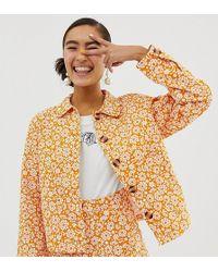Monki Denim Jacket Ditsy Flower Print In Yellow