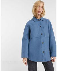 Whistles Голубая Куртка-рубашка Из Шерсти -синий