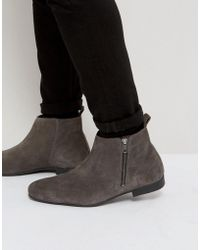 Frank Wright | Side Zip Chelsea Boots Charcoal Suede | Lyst