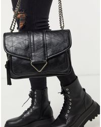 Pull&Bear Quilted Cross Body Bag - Black