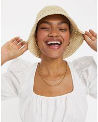 ASOS Crochet Straw Bucket Hat - Natural
