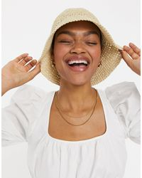 ASOS Bucket Hat Van Gehaakt Stro - Naturel
