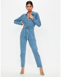 Missguided Tuta jumpsuit blu con bottoni