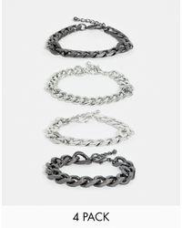 ASOS – Stahlgraues, übergroßes Kettenarmband - Mettallic