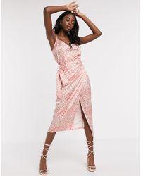 Never Fully Dressed Атласная Юбка Миди С Запахом И Леопардовым Принтом -мульти - Розовый