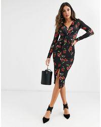 UNIQUE21 Платье С Цветочным Принтом И Сборками -мульти - Черный