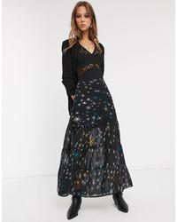 Religion Party Ruffle Hem Maxi Skirt - Black