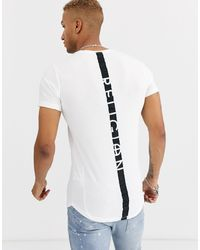 Religion Curved Hem T-shirt With Back Taping - White