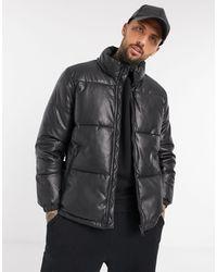 Bershka Padded Pu Puffer Jacket - Black