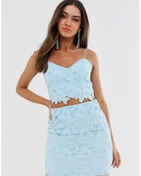 Love Triangle Cami Strap Cut Work Lace Crop Top Co-ord In Soft Blue