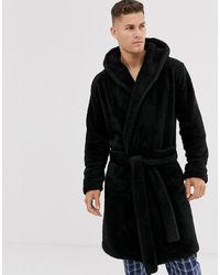 ASOS Lounge Fleece Dressing Gown - Black