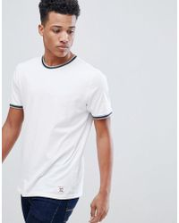 Abercrombie & Fitch - Varsity Tipped Ringer T-shirt In White - Lyst