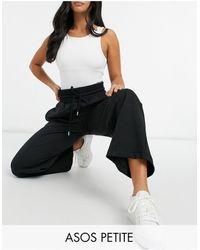 ASOS Asos Design Petite Straight Leg Joggers With Deep Waistband And Pintuck - Black