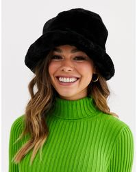 ASOS Faux Fur Roll Back Bucket Hat - Black