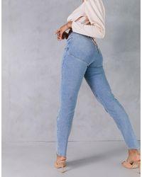 ASOS Hourglass - Jean mom slim taille haute effet sculptant et rehaussant - Délavage moyen - Bleu