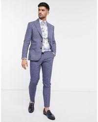 Moss Bros Moss London - Slim-fit Pantalons Met Visgraatmotief - Blauw