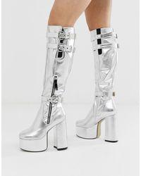 LAMODA Silver Platform Knee High Boots - Metallic
